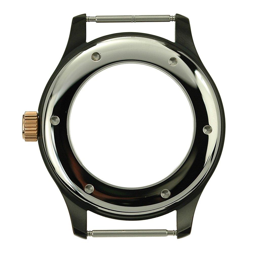 47 mm, Edelstahlgehäuse schwarz PVD, Lünette roségold, ETA 6497/9