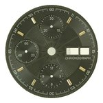 Sale: d=30.0 mm, Dial ETA 7750, black decor, patch gold plated figures, DayDate on 3