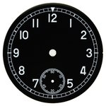 D=36.5 mm, Dial ETA 6498, black shiny, second on 6